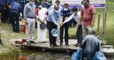 দিনাজপুর জেলা পুলিশের উদ্যোগে মাছের পোনা অবমুক্তকরণ